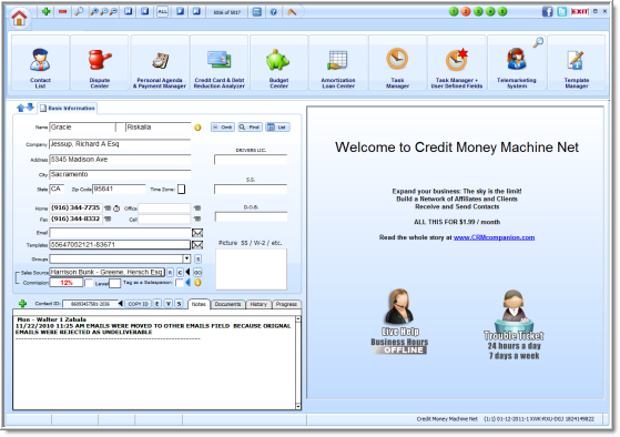 Click to view Credit Money Machine Net 02-26-2012 screenshot